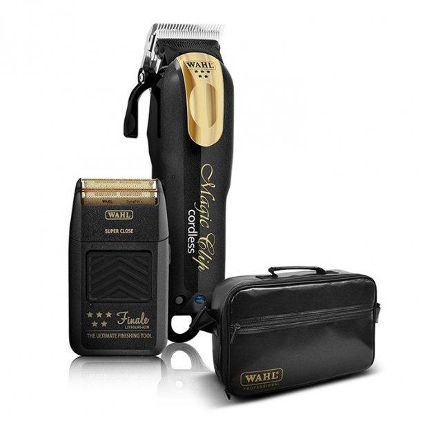 Wahl 5 Star Black/Gold Magic Clip Cordless Clipper & Finale Shaver & Tool Bag